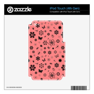 Vector Bugs & Flowers (Poppy Red Background) Decal For iPod Touch 4G