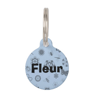 Vector Bugs & Flowers (Sky Blue Background) Pet Tag