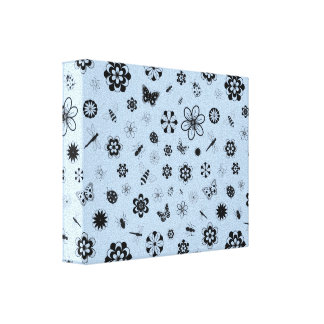 Vector Bugs & Flowers (Sky Blue) Canvas Print