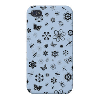 Vector Bugs & Flowers (Sky Blue) iPhone 4 Cover
