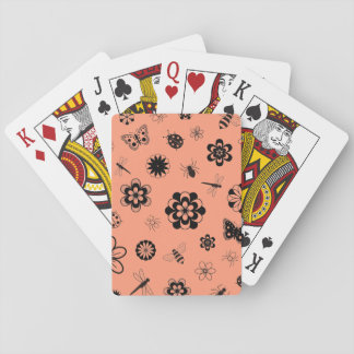 Vector Bugs & Flowers -Tangerine Orange Background Playing Cards