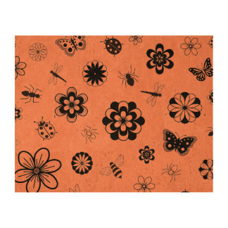 Vector Bugs Flowers -Tangerine Orange Background Cork Paper Prints