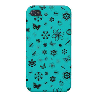 Vector Bugs & Flowers (Teal Background) iPhone 4 Covers