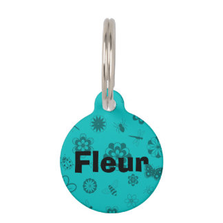 Vector Bugs & Flowers (Teal Background) Pet Name Tag