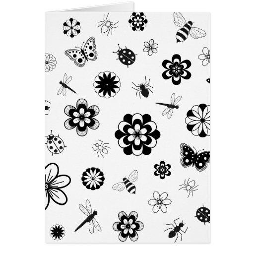 Vector Bugs & Flowers (Version B) Card