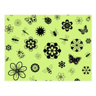 Vector Bugs & Flowers (Version B Grass Green) Postcard