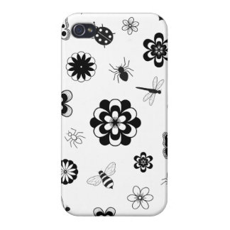 Vector Bugs & Flowers (Version B) Cover For iPhone 4