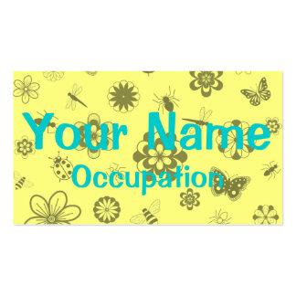 Vector Bugs & Flowers (Version B Lemon Yellow) Business Card