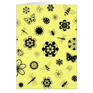 Vector Bugs & Flowers (Version B Lemon Yellow) Card