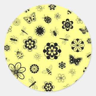 Vector Bugs & Flowers (Version B Lemon Yellow) Classic Round Sticker