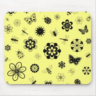 Vector Bugs & Flowers (Version B Lemon Yellow) Mouse Pad