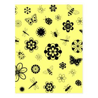Vector Bugs & Flowers (Version B Lemon Yellow) Postcard