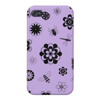 Vector Bugs & Flowers (Version B Lilac Purple) iPhone 4/4S Cases