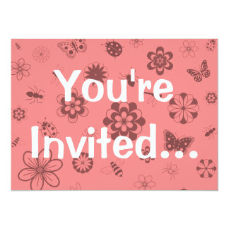 Vector Bugs & Flowers (Version B Poppy Red) 5.5x7.5 Paper Invitation Card