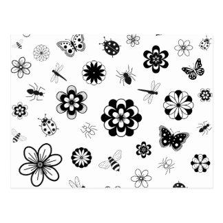 Vector Bugs & Flowers (Version B) Postcard
