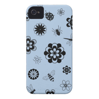 Vector Bugs & Flowers (Version B Sky Blue) Case-Mate iPhone 4 Cases