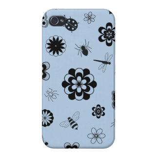 Vector Bugs & Flowers (Version B Sky Blue) Cases For iPhone 4