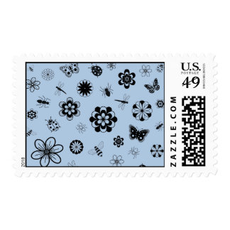 Vector Bugs & Flowers (Version B Sky Blue) Postage