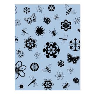 Vector Bugs & Flowers (Version B Sky Blue) Postcard