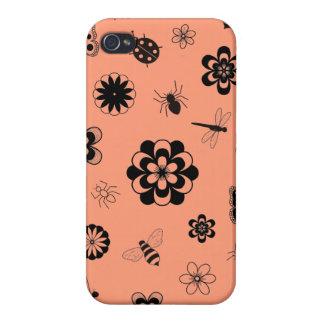 Vector Bugs & Flowers (Version B Tangerine Orange) Case For iPhone 4