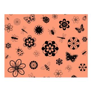 Vector Bugs & Flowers (Version B Tangerine Orange) Postcard