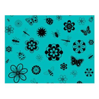 Vector Bugs & Flowers (Version B Teal) Postcard
