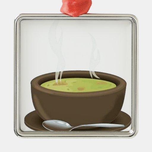 Vector caliente de la sopa adorno navideño cuadrado de metal