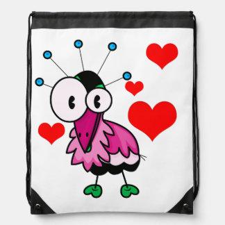 Vector  Cartoon  Bird with hearts Drawstring Backpack