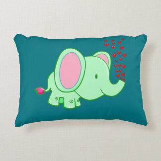 Vector cartoon Elephant,spraying hearts Accent Pillow