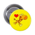 Vector Cartoon  giraffe with heart Button