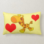 Vector Cartoon  giraffe with hearts Pillow