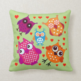 Vector Cartoon  Owls with hearts Throw Pillow
