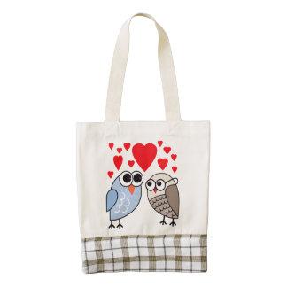 Vector  Cartoon Owls with hearts Zazzle HEART Tote Bag