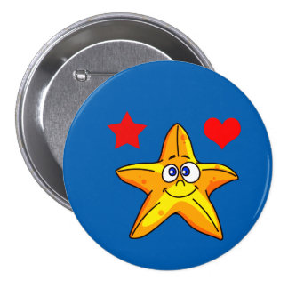 Vector Cartoon  Starfish with Heart and star Pinback Button