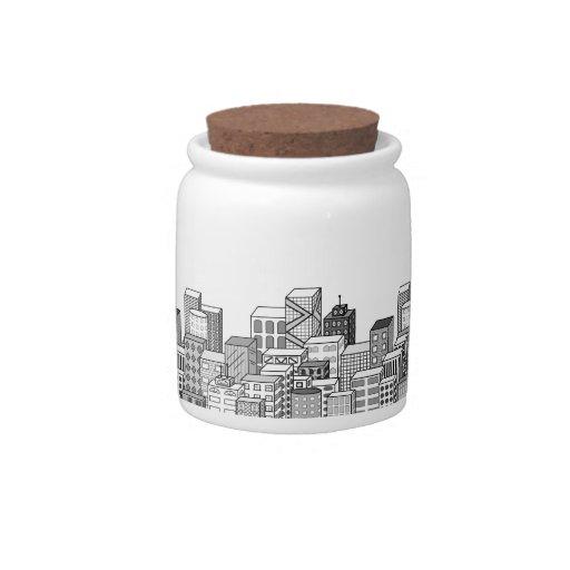 Vector Cityscape (Black & White) Candy Jar