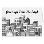 Vector Cityscape (Black & White) Greeting Card