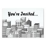 """Vector Cityscape (Black & White) 3.5"""" X 5"""" Invitation Card"""