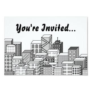 Vector Cityscape (Black & White) 3.5x5 Paper Invitation Card