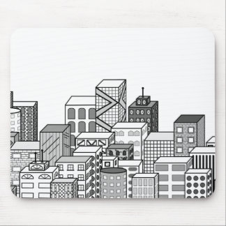 Vector Cityscape Black White Mouse Pads