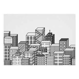 Vector Cityscape (Black & White) Poster
