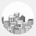 Vector Cityscape (Black & White) Round Sticker