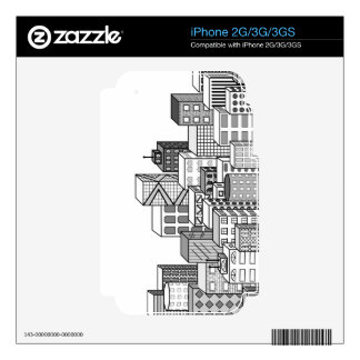 Vector Cityscape (Black & White) iPhone 3G Decal