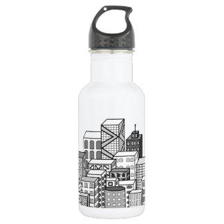 Vector Cityscape (Black & White) Stainless Steel Water Bottle