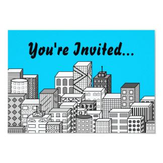 Vector Cityscape & Sky Blue Background 3.5x5 Paper Invitation Card