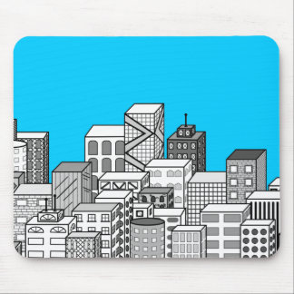 Vector Cityscape Sky Blue Background Mousepad