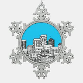 Vector Cityscape & Sky Blue Background Ornaments