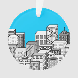 Vector Cityscape & Sky Blue Background Ornament