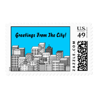 Vector Cityscape & Sky Blue Background Postage