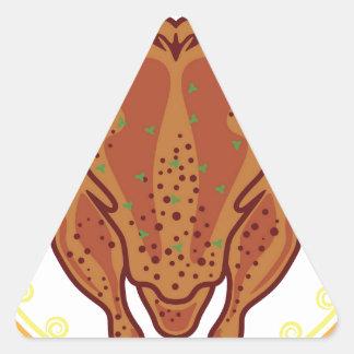 Vector cocinado del pollo pegatina triangular