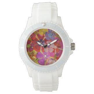 vector colorido de las flores del vintage relojes